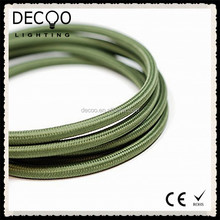 Army Green Vintage Braided 2/3 Core Lighting Electrical Flex