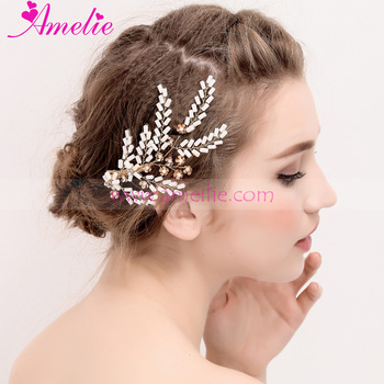 Continental Golden Color Bridal Jewelry White Beads Side Hair Clip Wedding Hair Accessories Simple Ceremony Headpiece
