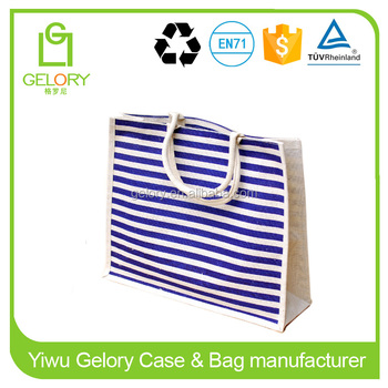 White/Blue stripe printed and Rope handle style custom made jute shopping bags
