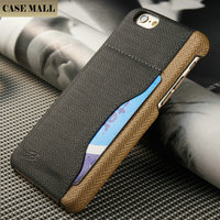 Universal canvas back leather smart wallet for Iphone 6 credit card case