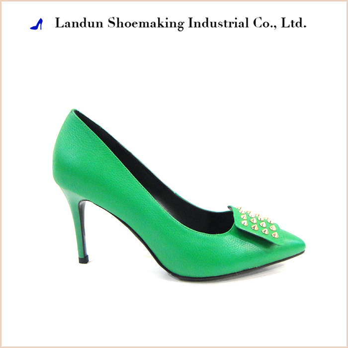 Fashion green cow patent leather dress shoes for ladies womens