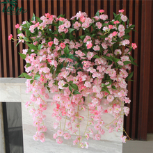 Top quality fake silk flower pink wall hanging artificial cherry blossom flowers for wedding decoration