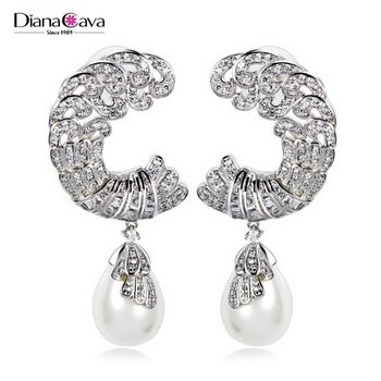 Want Fashion Jewelry Pictures Pearl Deluxe Top Grade Cubic Zirconia Earrings Designs