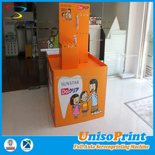 folding cardboard business card display case with plastic hooks for kids products