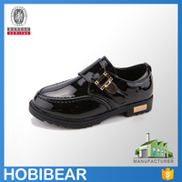 HOBIBEAR 2015 wholesale hot sale black velcro kids leather school shoes for boys