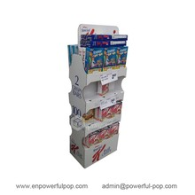 custom retail supermarket fruit crisps POS double sides cardboard shelves floor display stands