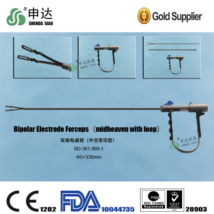 Reusable coagulation Clamp dissecting Surgical Instruments Equipment Metal Handle laparoscopic Bipolar Electrode Forceps