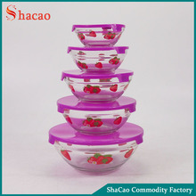 strawberry flower printing salad bowl 5 pcs glass bowl set with lids