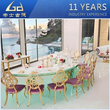 wholelsaler half moon MDF top stainless steel leg wedding chairs and tables hotel banquet table with LED
