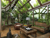 China supplier sun room outdoor glass room for garden glass house