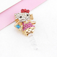 2015fasion jewelry S0293A rhinestone shamballa mobile phone dustproof plug anti dust plug for cell phone