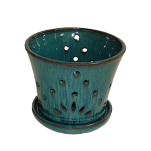 Unique design ceramic orchid pot creative green flower pot with holder