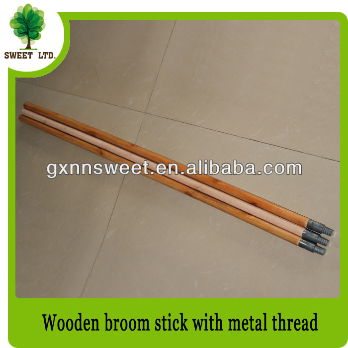 Varnished mop handle with metal screw