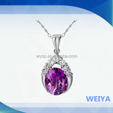2015 latest Design New Fashion Zircon Amethyst Lady Pendent