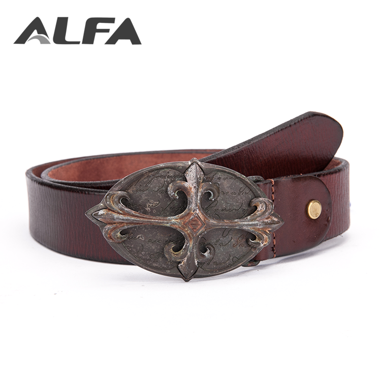 Alfa 2018 New Products Personalized Custom Western Cowboy Buckle Genuine Mens Leather Belt