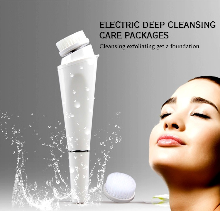 Rechargeable facial cleaning brush waterproof with 3 brushes heads