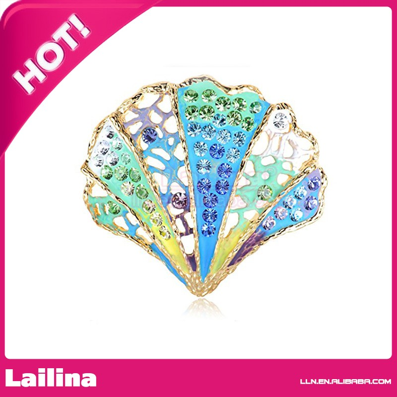 Colorful 50mm Crystal Green Blue Sea Shell of Mermaid Pin Brooch