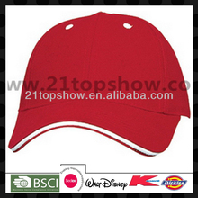 Blank sandwich red factory snap back hats with white eyelets