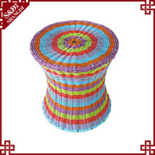 S.D factory price six bright multi colored rattan wicker outdoor bar stools