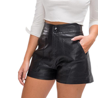 Customize Womens High Waisted Black Leather Shorts