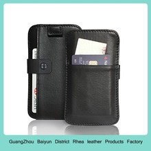 Mens Personlized Black Credit Card Holder Purse Leather Mobile Cell Phone Wallet Case