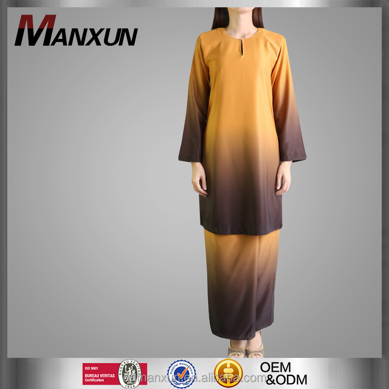 Latest Design Baju Kurung and Baju Melayu Two Toned Baju Kurung in Yellow