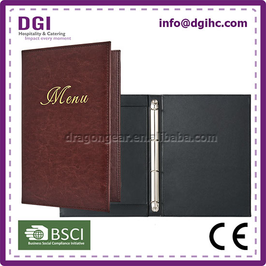 Eco - friendly good quality 6 holes ring binder a4 size menu for beer