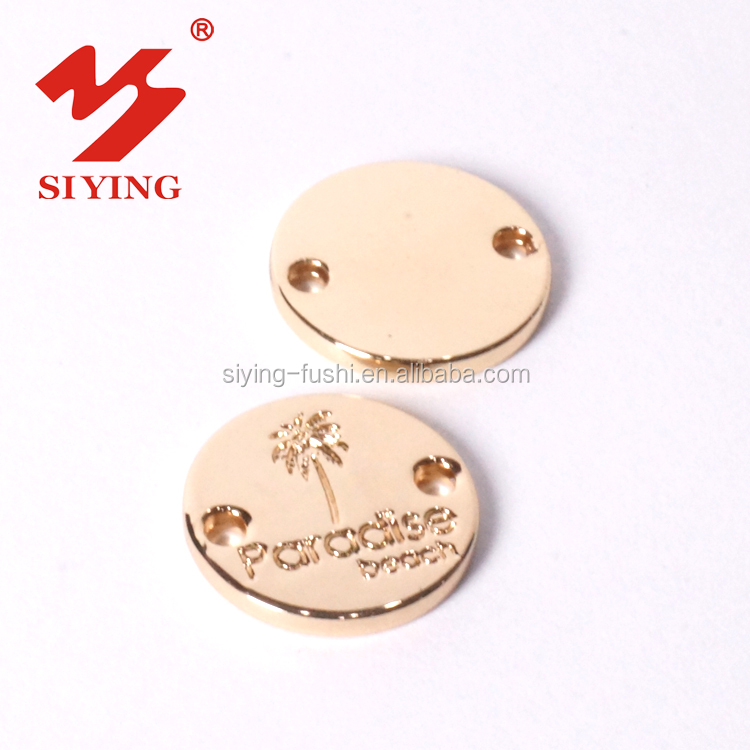Round shape metal clothing tag label plate for garment shawls