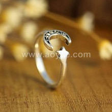 Wholesale 3 d Shining Star Moon Rings For Women Jewelry Open Adjustable Finger Rings Adjustable Rings