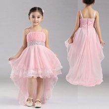2016 New Pink Flower Girl Dresses 4-12 years Girl Party Dress Short Front Long Back Kids Evening Gowns Btl-04 Stock Sales
