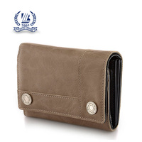 Mini Brown bifold Zip License Holder cards leather change purse for men