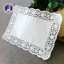 Disposable high quality best price white colored rectangualr paper doilies