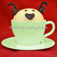 Tea Shape Silicone Cupcake Baking Cups Green with Flower Pattern, Plastic Saucer