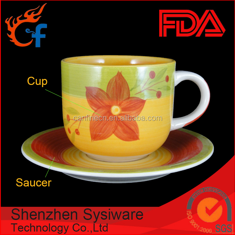 south America wholesale flower design red color blue color green color 350cc stripe hand painted cup and saucer
