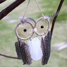 Dream catcher, Handmade Dream Catcher Owl Shape with Feathers Wall Hanging Decoration Decor Ornament Craft <strong>Gift</strong>