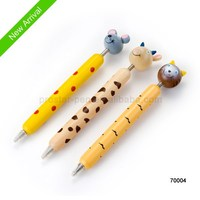 wooden cute ball pen with animal on the top cap-off action for craft gift