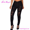 2016 Hot Sale Black Cotton Ladies Ripped Plus Size Butt Lift Jeans