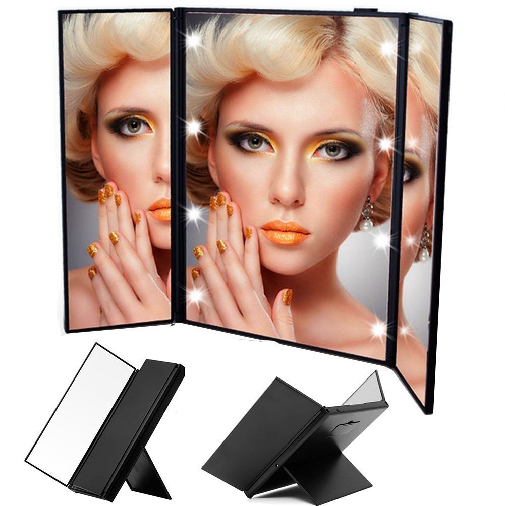 Touch Screen Lighted compact Makeup Mirror Vanity Handheld Pocket mini Compact Mirror With Batteries