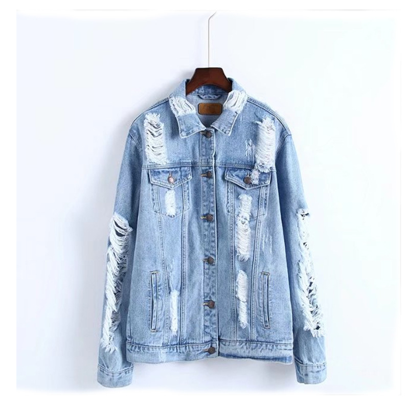 women casual denim jacket coat with <strong>holes</strong>