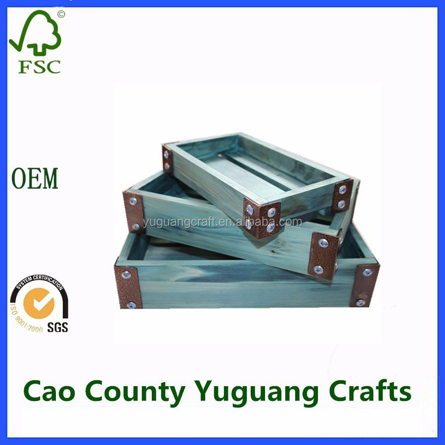 YuGuang exclusive Stylish blue wooden crate/case,wooden box,wooden tray