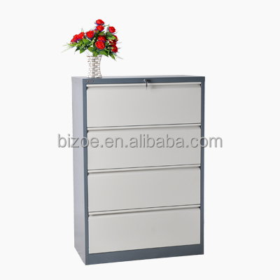 steel four drawer lateral filing cabinet / grey metal storage cabinets