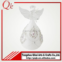 clear glass angels/glass crafts with small size for home decoration