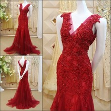 Red Lace Applique Beaded Mermaid Evening Dresses 2016 Real Picture Sexy V-neck Tulle Formal Party Gowns Free Shipping ML186
