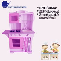 Wooden Purple Pink Mother Garden Kitchen Toy Set with Sink and Cabinet