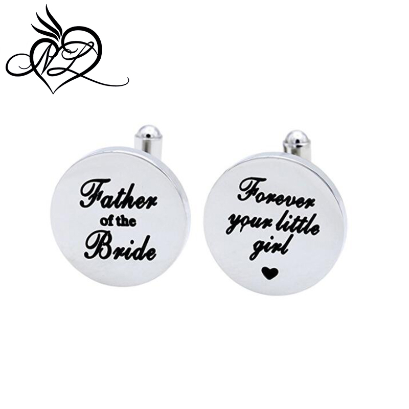 Father of the Bride Cufflinks, Forever Your Little Girl Stainless Steel Cuff Links Gift For Dad