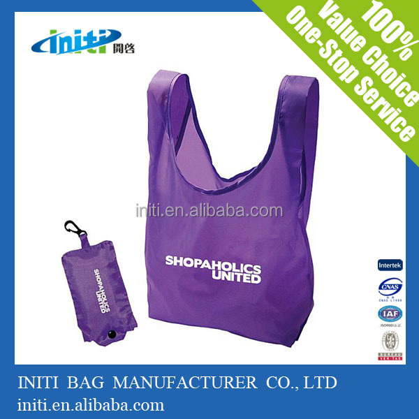 Wholesale high quality foldable shopping bag with pouch for shopping