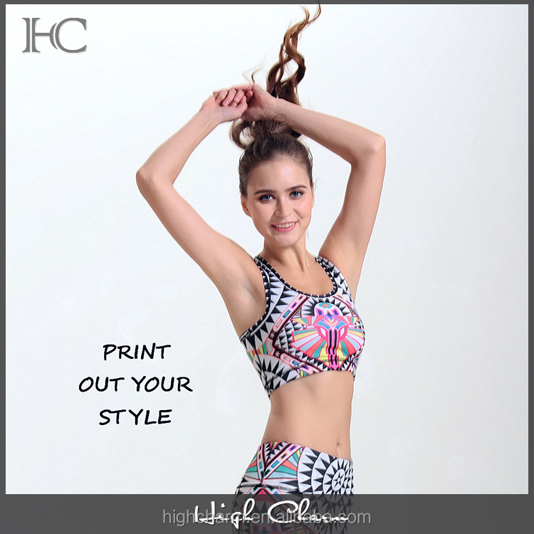 Manufacturer cool stylish stretchy shockproof push up dry fit breathable printed racerback yoga bra clothing for femme