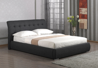 Modern Style Curve Headboard Black Fabric Double Bed