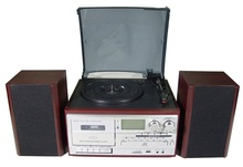 factory supply retro turntable record player CD ,USB , SD ,Casstte player with buit-in speaker