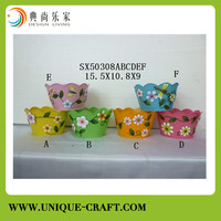 Cute kid's flower pot metal planter for garden decorative